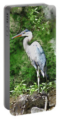 Great Blue Heron Watercolor Portable Battery Charger