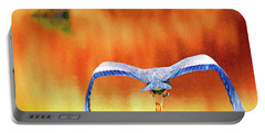 Portable Battery Charger featuring the digital art Great Blue Heron Winging It Photo Art by Sharon Talson