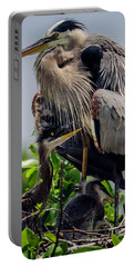 Great Blue Heron With Babies Portable Battery Charger