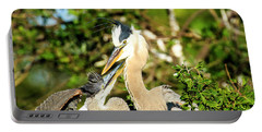Great Blue Herons Adult With Young Portable Battery Charger