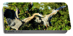 Great Blue Herons In Battle Portable Battery Charger