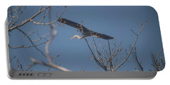 Portable Battery Charger featuring the photograph Great Blue In Flight by David Bearden