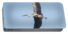 Portable Battery Charger featuring the photograph Great Blue On Final by David Bearden