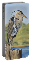 Great Blue Heron Standing Portable Battery Charger by Phyllis Beiser