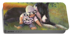 Portable Battery Charger featuring the painting Great Dane With Baby by Nancy Lee Moran