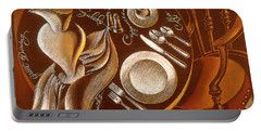 Portable Battery Charger featuring the painting Great Dining by Leon Zernitsky