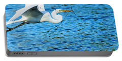 Great Egret Building Nest  Portable Battery Charger