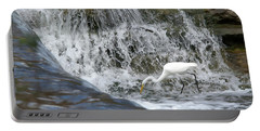 Great Egret Hunting At Waterfall - Digitalart Painting 1 Portable Battery Charger
