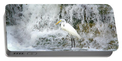 Great Egret Hunting At Waterfall - Digitalart Painting 2 Portable Battery Charger