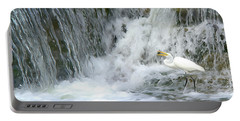 Great Egret Hunting At Waterfall - Digitalart Painting 3 Portable Battery Charger