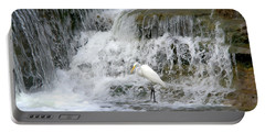 Great Egret Hunting At Waterfall - Digitalart Painting 4 Portable Battery Charger