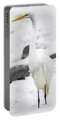 Portable Battery Charger featuring the photograph Great Egret In All White  by Ricky L Jones
