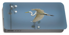 Great Egret In Flight And Flood Lighting Portable Battery Charger