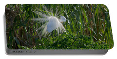 Great Egret In Flight With Windy Plumage Portable Battery Charger