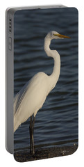 Great Egret In The Last Light Of The Day Portable Battery Charger