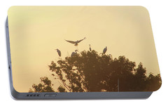 Portable Battery Charger featuring the photograph Great Egret Joining Friends by Robert Banach