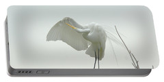 Great Egret Preening On Broken Tree Limb Portable Battery Charger
