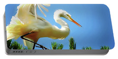 Great Egret Preparing For Treetop Landing 3 - Digitalart Portable Battery Charger