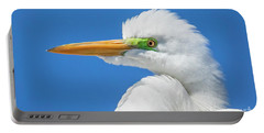 Great Egret Profile Portable Battery Charger by John Roberts