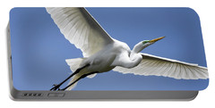 Portable Battery Charger featuring the photograph Great Egret Soaring by Gary Wightman