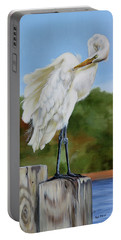 Portable Battery Charger featuring the painting Great Egret Standing by Phyllis Beiser