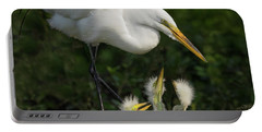 Great Egret With Chicks Portable Battery Charger