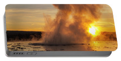 Great Fountain Geyser Sunset - Yellowstone National Park Portable Battery Charger
