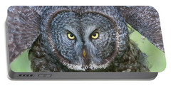 Great Gray Owl Flight Portrait Portable Battery Charger