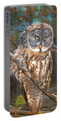 Great Grey Owl 2 Portable Battery Charger by Sharon Duguay