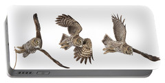 Portable Battery Charger featuring the photograph Great Grey Owl Hunting by Mircea Costina Photography