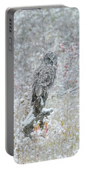 Great Grey Owl In Snow Portable Battery Charger