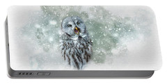 Great Grey Owl In Snowstorm Portable Battery Charger