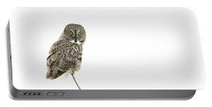 Portable Battery Charger featuring the photograph Great Grey Owl On White by Mircea Costina Photography