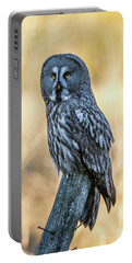 Great Grey Perching Portable Battery Charger by Torbjorn Swenelius