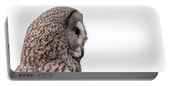 Great Grey's Profile On White Portable Battery Charger