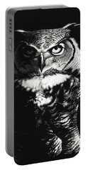 Portable Battery Charger featuring the drawing Great Horned Dragon Owl by Stanley Morrison