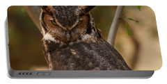Great Horned Owl In A Tree 2 Portable Battery Charger by Chris Flees