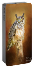 Great Horned Owl In Autumn Portable Battery Charger