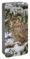 Great Horned Owl In Snow Portable Battery Charger