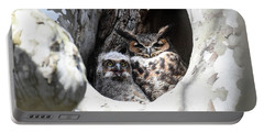 Great Horned Owl Nest Portable Battery Charger by Gary Wightman