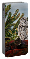 Great Horned Owl - Owl On The Rocks Portable Battery Charger