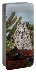Portable Battery Charger featuring the painting Great Horned Owl - Owl On The Rocks by Marilyn  McNish