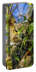 Great Horned Owl Peeking At It's Prey Portable Battery Charger