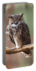 Great Horned Owl Perched On Branch Portable Battery Charger