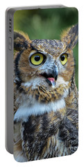 Great Horned Owl Smiling Portable Battery Charger