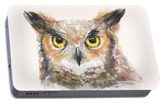 Great Horned Owl Watercolor Portable Battery Charger by Olga Shvartsur