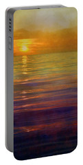 Portable Battery Charger featuring the digital art Great Lakes Setting Sun by Michelle Calkins
