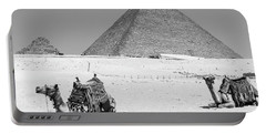 Portable Battery Charger featuring the photograph great pyramids of Giza by Silvia Bruno