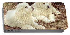 Portable Battery Charger featuring the digital art Great Pyranese Puppies2 by Bonnie Willis