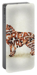 Portable Battery Charger featuring the painting Great Pyrenees Watercolor Painting / Typographic Art by Inspirowl Design